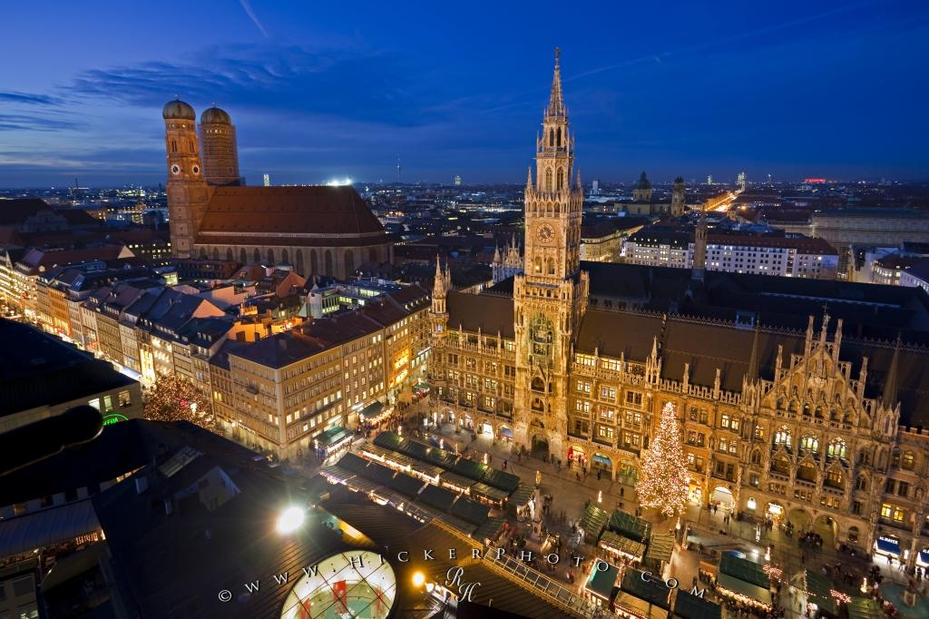 Munich Christmas Market.Aerial View Munich Christmas Market Photo Information