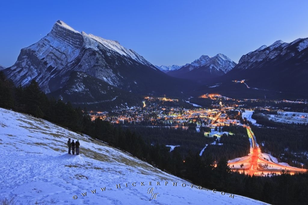 Aerial Dusk Winter View Banff Town Alberta Canada Photo Information
