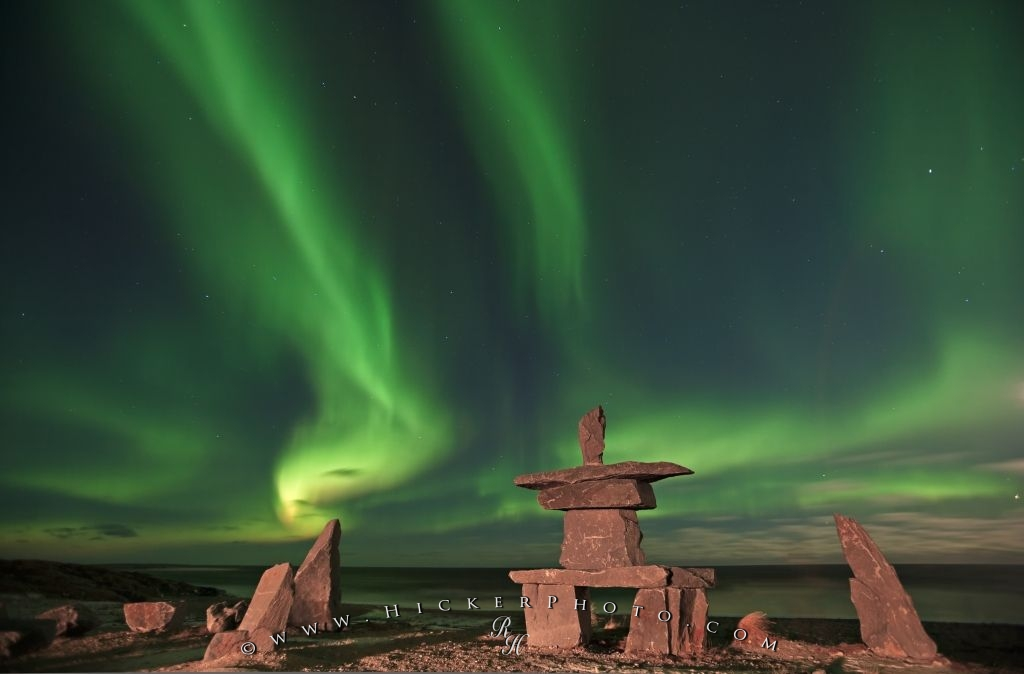 Aurora Borealis Inukshuk Northern Lights Picture