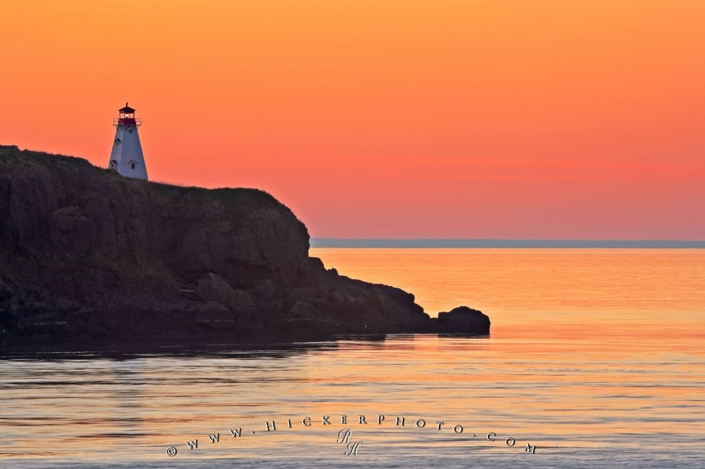 Sunset Boars Head Lighthouse Long Island Bay Of Fundy Nova Scotia