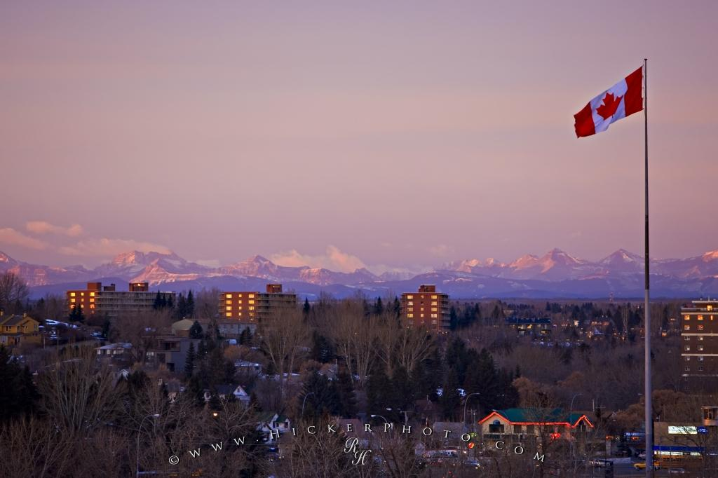 Calgary Rocky Mountain Sunset with Canadian Flag
