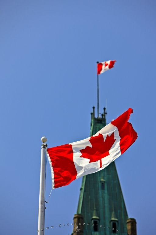 Peace Tower Canadian Flag Parliament Hill Ottawa Ontario Canada