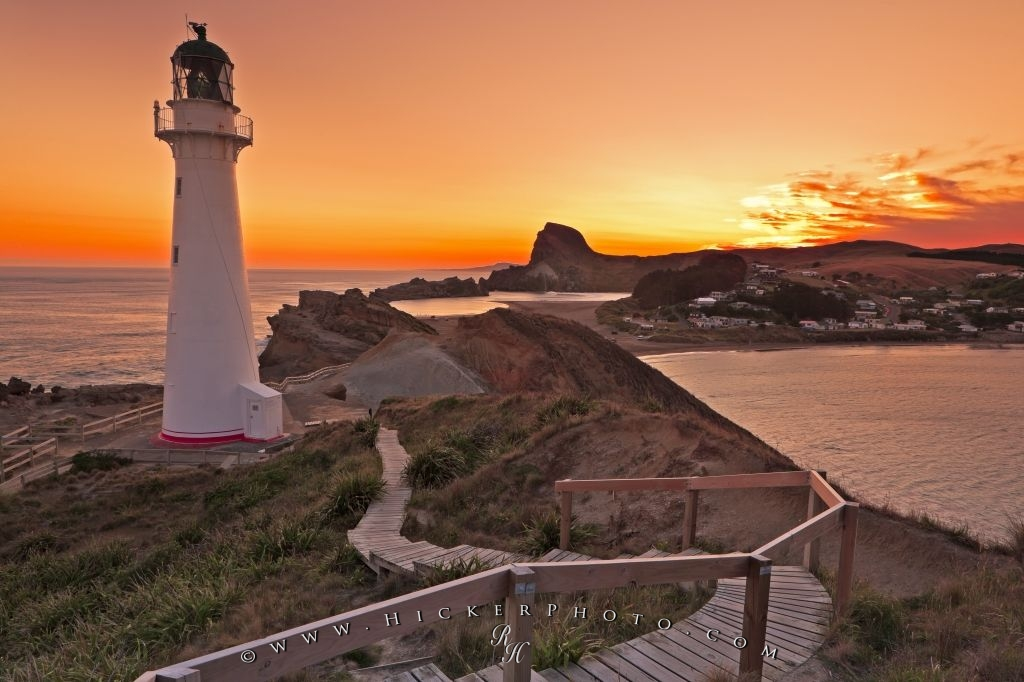 Castlepoint Lighthouse Sunset New Zealand