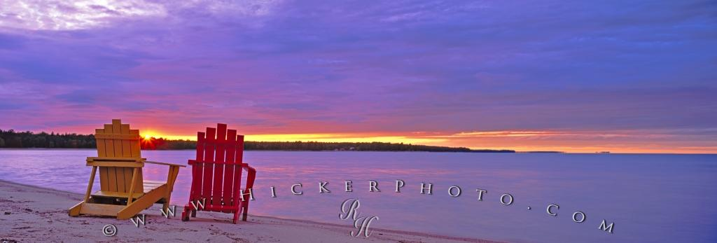 Two Adirondack Chairs Sunset Lake Huron Ontario