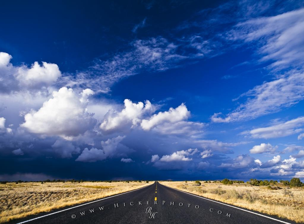 Endless Desert Road Storm Clouds New Mexico
