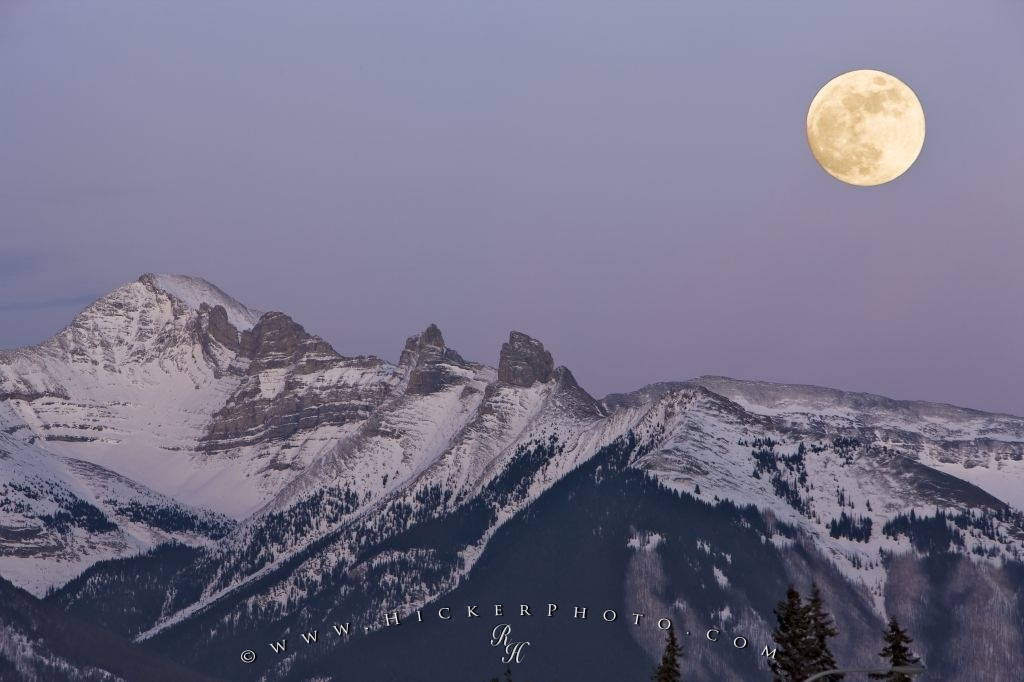 Fairholme Range Winter Full Moon Banff National Park