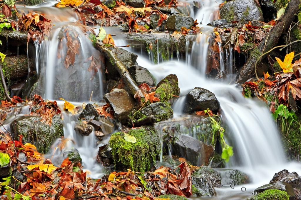 Free Wallpaper: Fall Leaves Waterfall Flowing Water