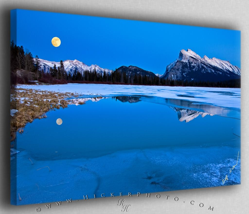 Full Moon Vermillion Lakes Banff National Park Canvas Fine Art Photo