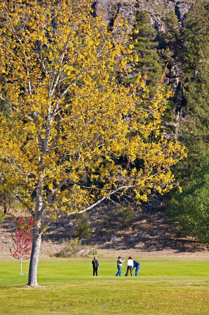 People Golfing Fall Okanagan Valley