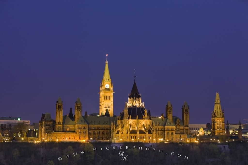 Canadian Government Buildings Parliament Hill Twilight Ottawa