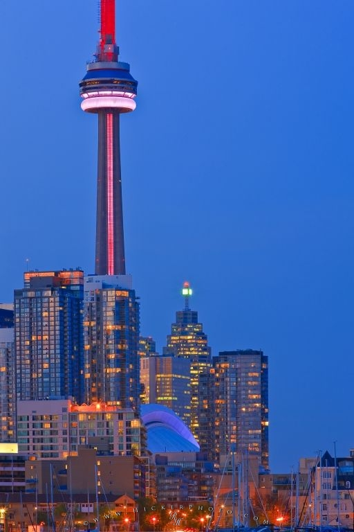 High Rise Buildings Skyline Twilight CN Tower Toronto Picture