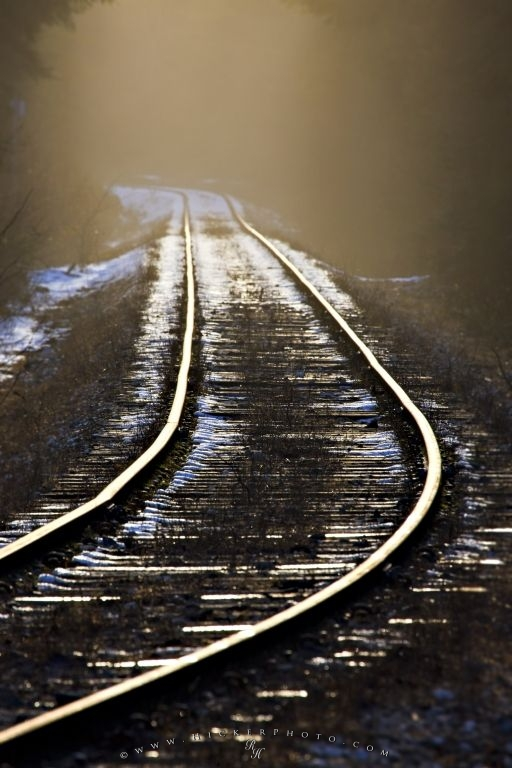 Picture Of Ice Fringed Railway Tracks