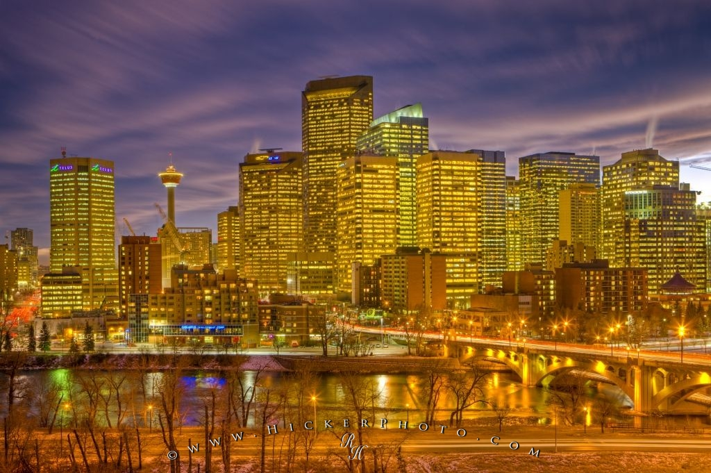 Beautiful Illuminated City Skyline Picture