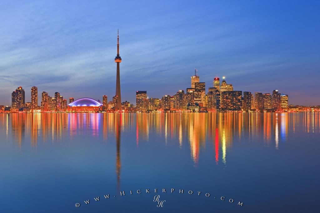 Illuminated Toronto Skyline Twilight Reflections