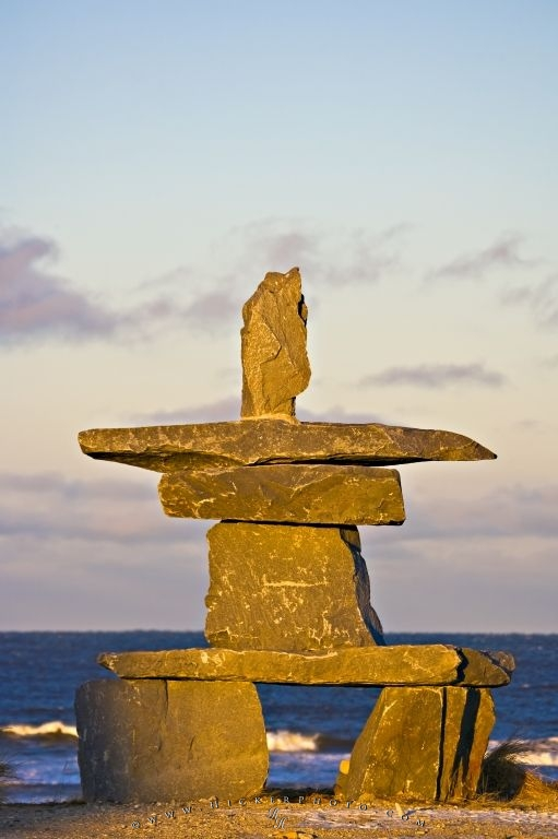 Inukshuk Inuit Symbol Hudson Bay Sunset Churchill