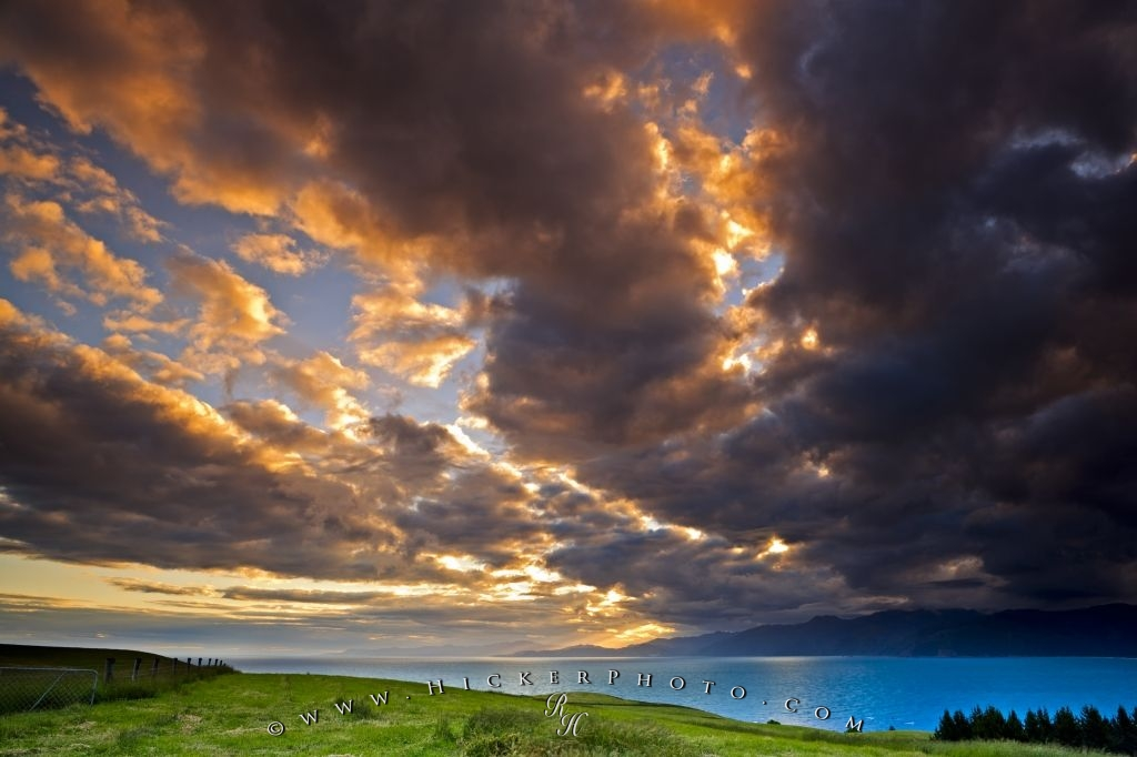 Dramatic Clouds Kaikoura Coast Sunset