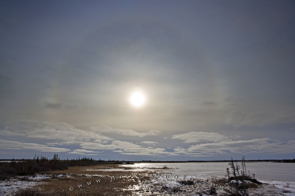 Winter Halo Around Sun Lake Iwago Churchill Manitoba