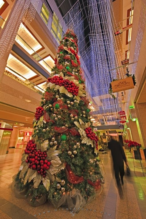 picture of an exquisitely decorated christmas tree in the atrium of the banker hall shopping mall
