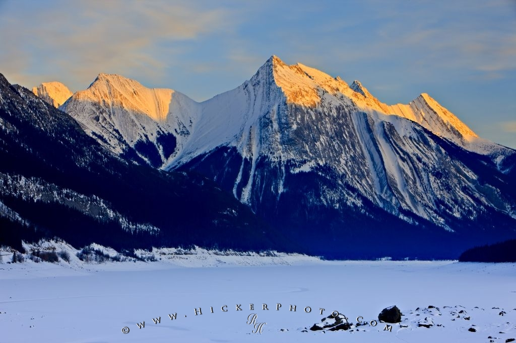 Medicine Lake Sunset Snow Capped Mountain Scenery