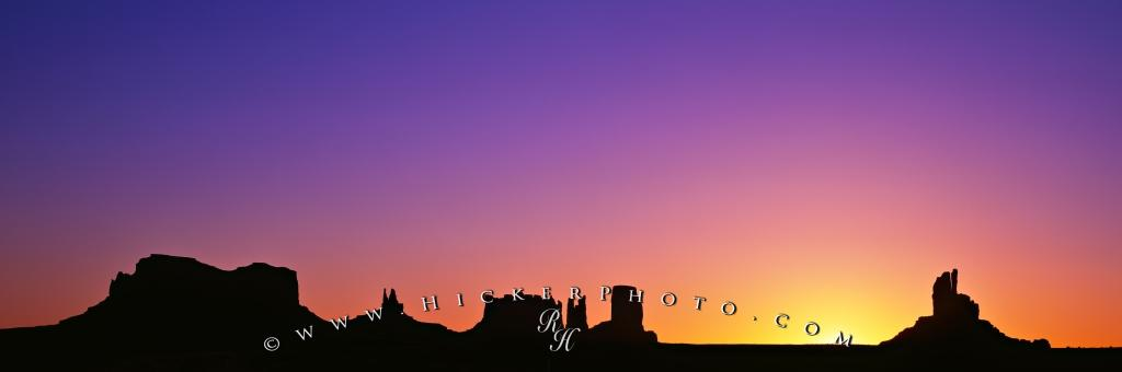 Monument Valley Silhouette Scenic Landscape Panorama