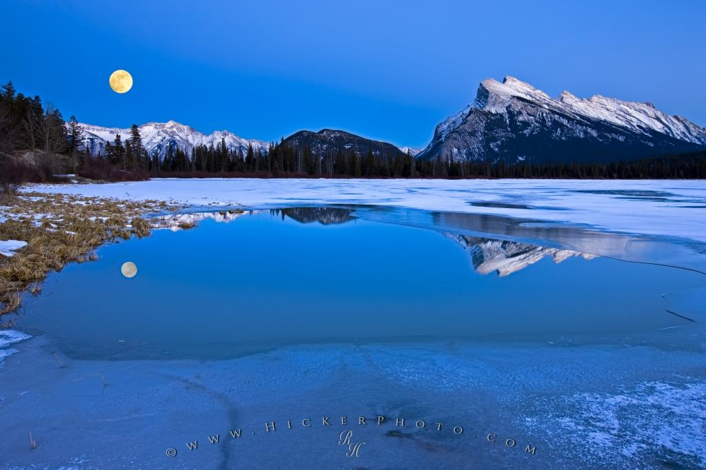 Mount Rundle Winter Reflections 2nd Vermilion Lake Full Moon