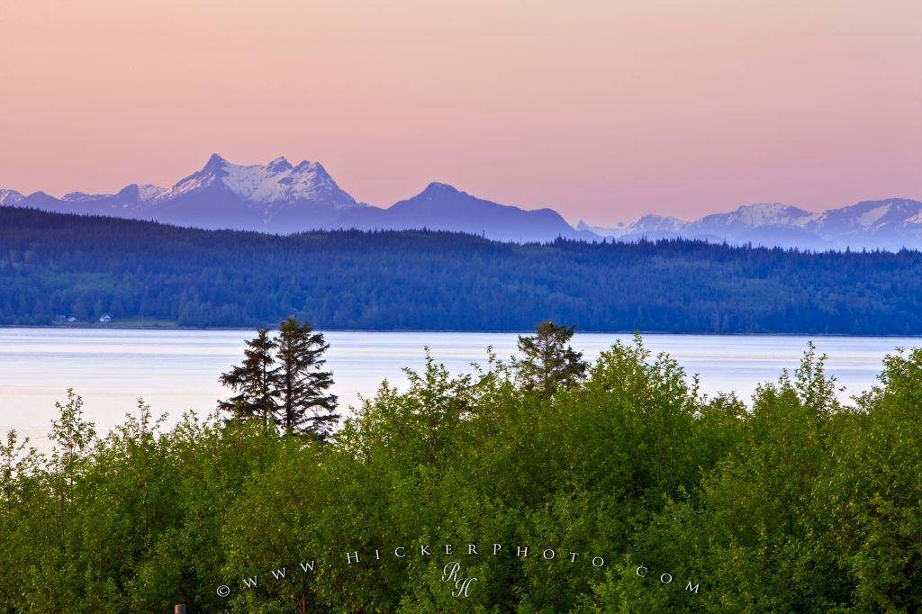 Mount Stevens Sunset Scenery Coastal Mountain Range BC