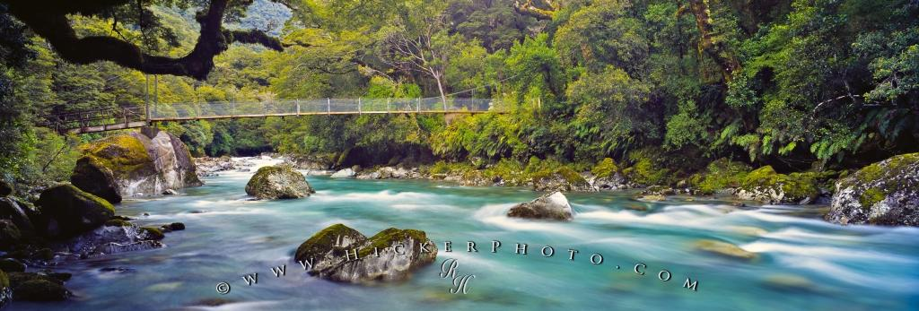 Panorama New Zealand Nature Hollyford River Fiordland