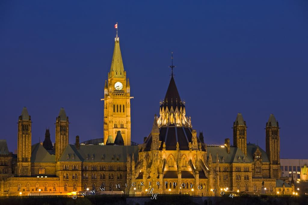 Parliament Hill Buildings Dusk Picture Ottawa Ontario Canada