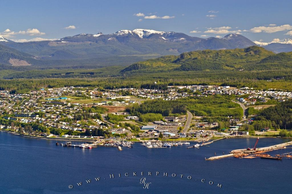 Port McNeill Town Aerial Mountain Backdrop