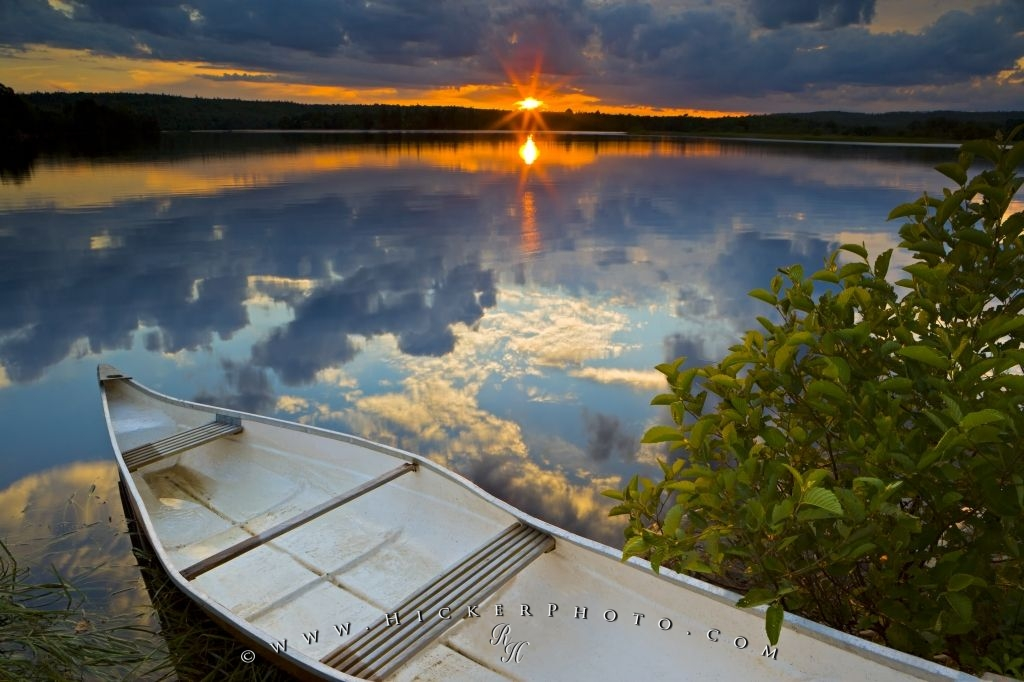 River Canoe Sunset St Marys River Sherbrooke Nova Scotia