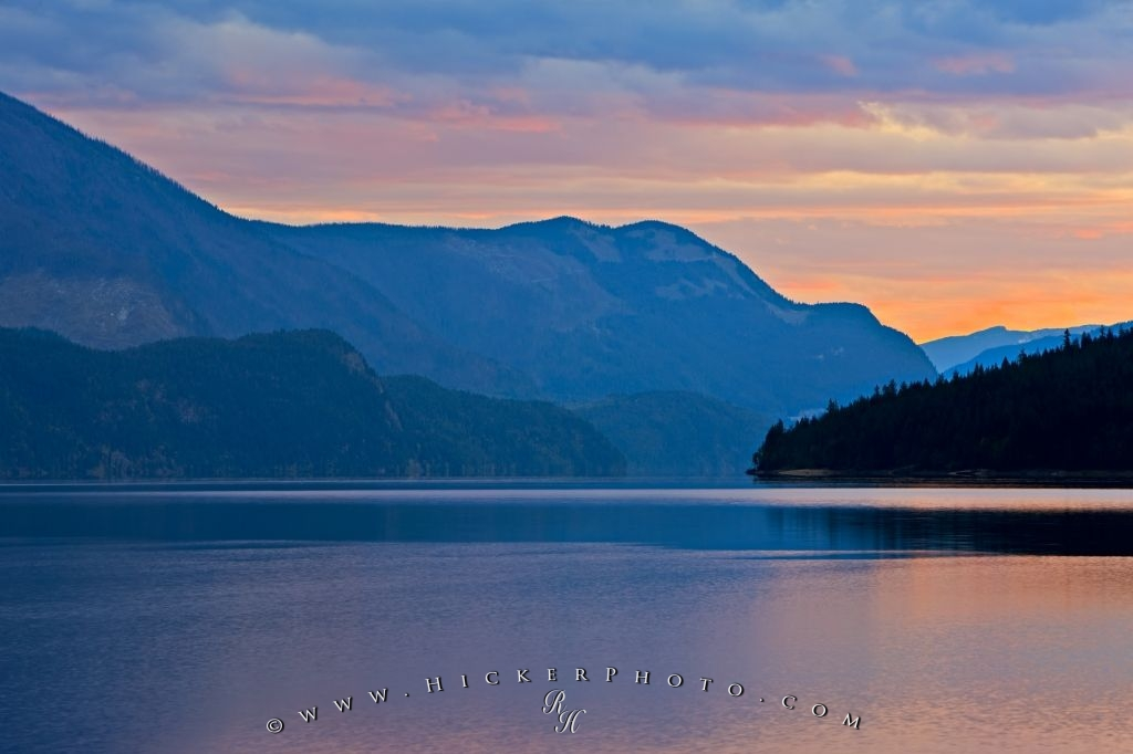 Beautiful Slocan Lake Sunset Central Kootenay BC Canada
