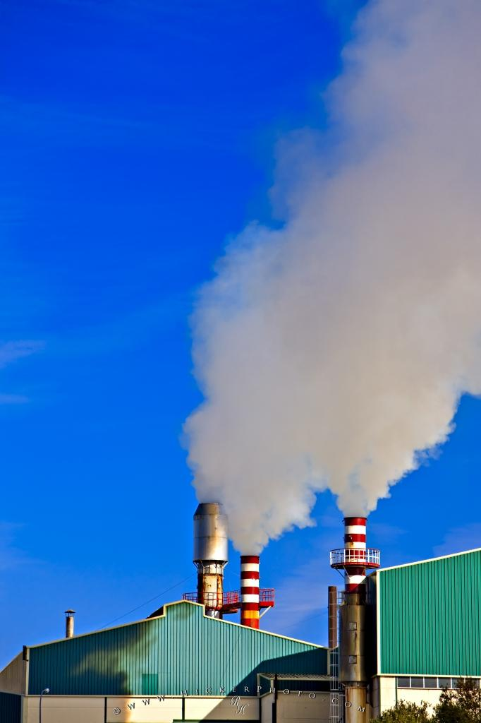 Global Warming Smoke Stacks Industrial Pollution