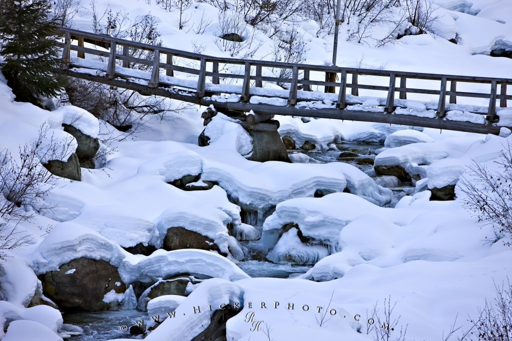 Bridge Snow Ice Formations Winter Whistler Blackcomb Mountains