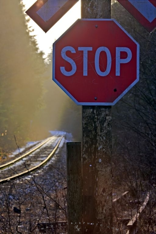 Stop Sign Railway Tracks Picture