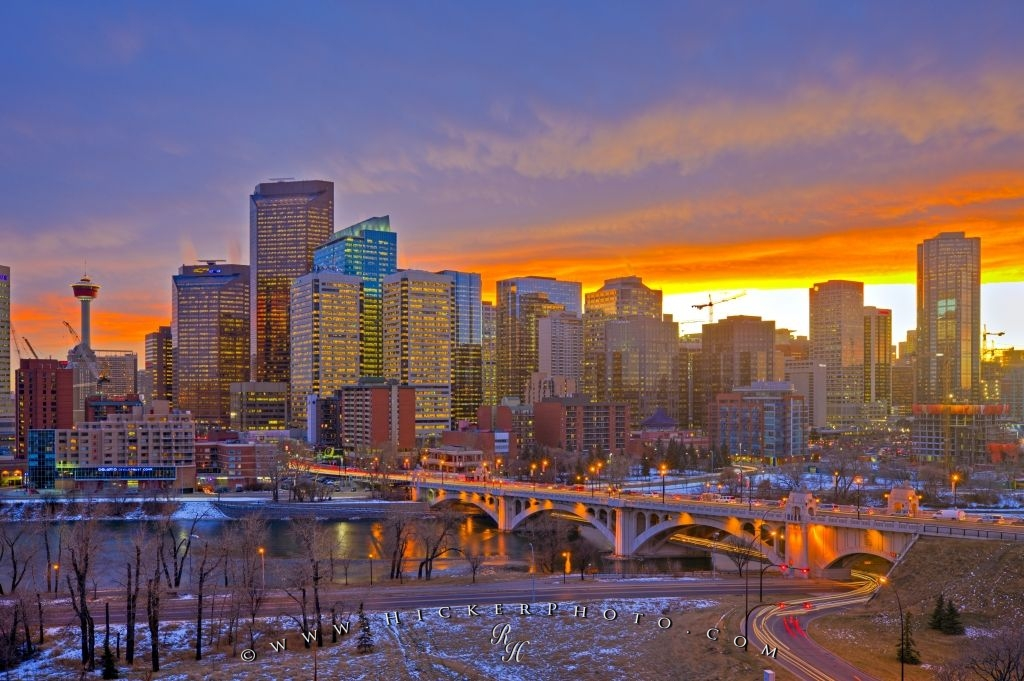 Winter Sunset City Skyline Picture Calgary Alberta