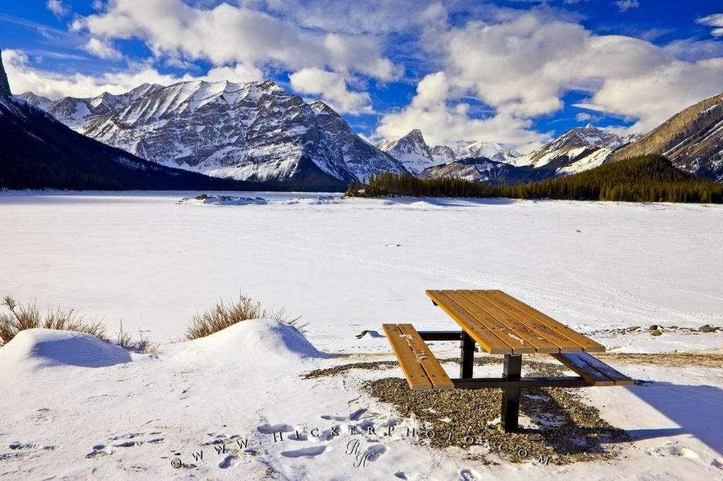 Photo Of The Beautiful Snow Covered Winter Scenery Upper Kananaskis Lake