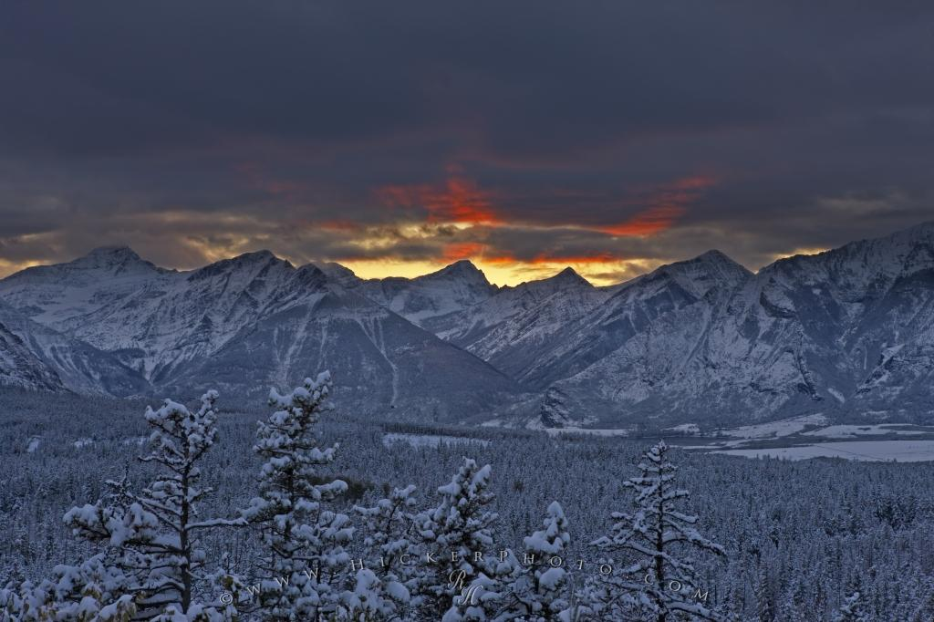 Waterton Lakes National Park Winter Scenic Sunset Picture