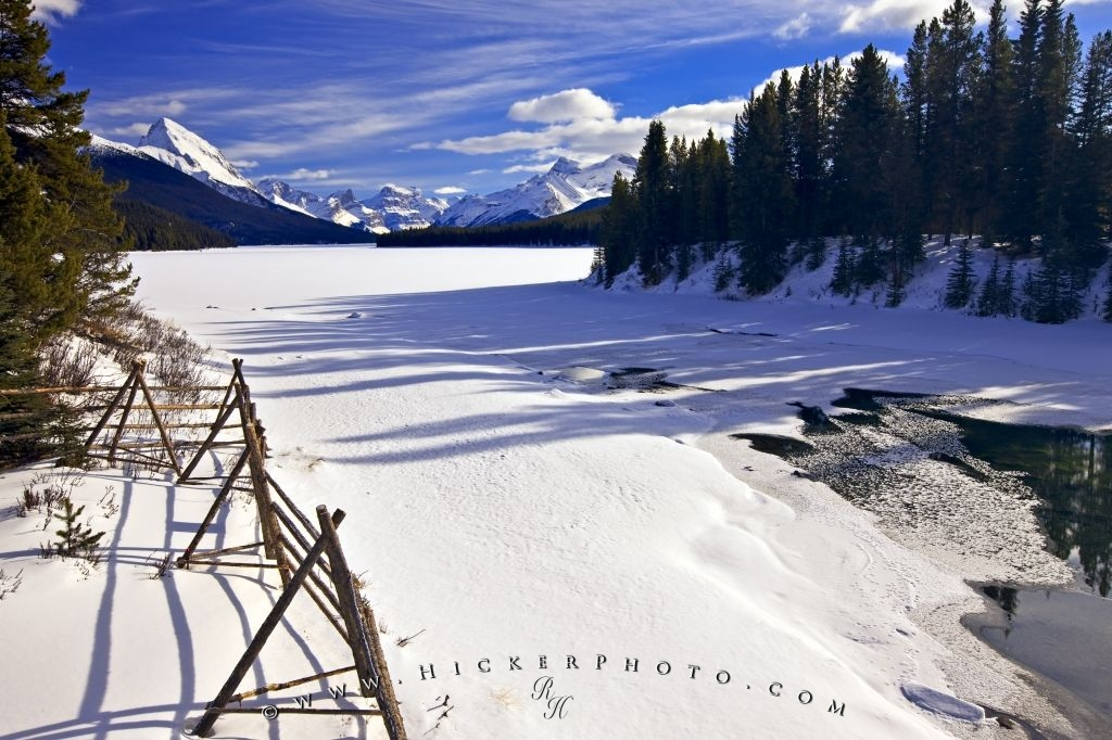 Rocky Mountain Winter Lake Scenery