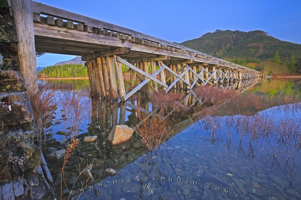 Wooden Bridge Picture Scenic Lake Forest Reflections