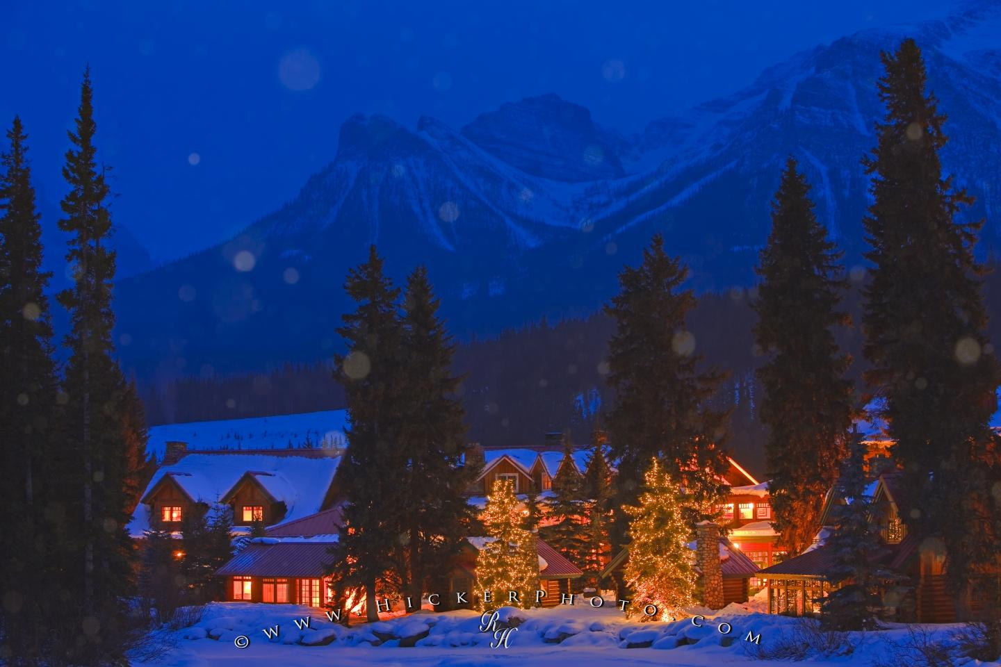 Winter Snow Fall Night Scene Lake Louise Alberta