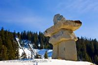 There's no missing the large inukshuk - Ilanaaq, the emblem for the Vancouver 2010 Olympic Winter Games, which towers above the entrance of the Whistler Olympic Park Nordic Sports Venue.