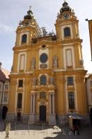 The grand architecture of the Abbey Church at the Stift Melk Monastery in Austria, Europe.