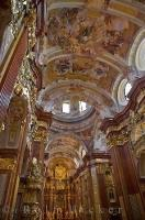 The ceiling of the Abbey Church at Stift Melk in the town of Melk in Austria, is decorated with an array of beautiful paintings.