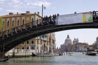 One of the bridges that crosses the Grand Canal in Venice, Italy is the Accademia Bridge.