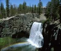 Photo of Rainbow Falls in Postpile National Monument on the east side of the sierra nevada
