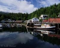 The quaint boardwalk community of Telegraph Cove, the site of the first whale watching company in British Columbia on Northern Vancouver Island.