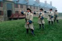 Photo of Soldiers at the Fortress Louisbourg, a living museum in Nova Scotia