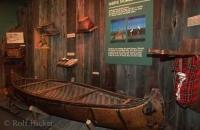 American Native Exhibit at the Parry Sound Museum showing a Canoe and other necessary hunting equiment at Parry Sound Ontario.