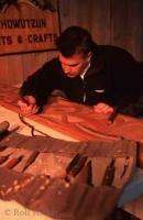 Wood carver displaying his art at the Quw'utsun' Cultural Centre on Vancouver Island in Duncan BC, British Columbia