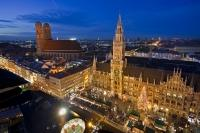 An annual event during the advent calendar, the Munich Christmas Market is held outside the the new town hall (Neues Rathaus). This aerial view is afforded from St Peter's Church.